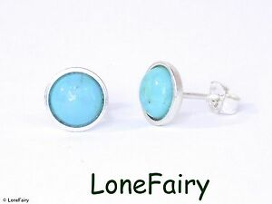 Hallmarked 925 Sterling Silver Genuine Turquoise Round Stud Earrings Gemstone
