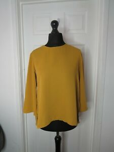 Topshop Ladies Blouse Top Size 10 Mustard Yellow Relaxed Fit 3/4 Sleeve Dip Hem