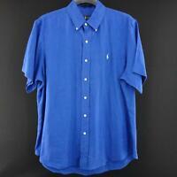 Men Polo Ralph Lauren Blue Oxford Golf Dress Shirt Size Large Short Sleeve Linen