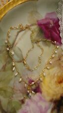 Vintage Gold Plated Chain with Freshwater Pearl Dangles Necklace