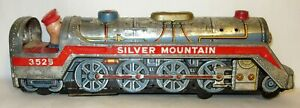 VINTAGE ~ SILVER MOUNTAIN TRAIN ~ BATTERY OPERATED ~ TIN LITHO ~ JAPAN ~ 1960's