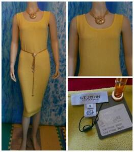 NWT ST JOHN Collection Knits Citron Yellow Dress L 12 10 Sleeveless Sheath New