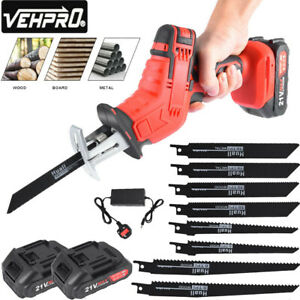 21V Cordless Powerful Reciprocating Saw Wood Metal Cutting w/8 Blades 2 Battery