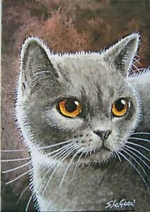 ACEO BRITISH BLUE CAT PRINT FROM ORIGINAL PAINTING BY SUZANNE LE GOOD