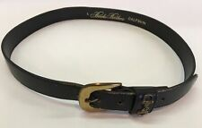 BROOKS BROTHERS Calfskin Black LEATHER BELT Size Large Preowned Brass Buckle