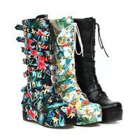 Womens Fashion Punk Buckle Strap Lace Up Mid Calf Boots Platform Shoes Plus Size