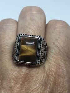 Vintage Stainless Steel Genuine Tiger's Eye Size 8 Men's Ring