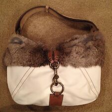 Authentic Nylon White Coach Hobo Bag Suede Beige Strap & Buckle Clasp Rabbit Fur