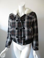 Juicy Couture Black Plaid Faux Fur Lining Cotton Blend Hooded Jacket fits XS
