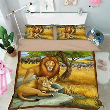 3D Prairie Lion 579 Bed Pillowcases Quilt Duvet Cover Set Single King UK Summer