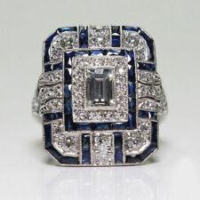 Noble Silver White Topaz & Blue Sapphire Ring Wedding Bridal Women Jewelry 6-10