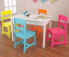 Kidkraft Kids Wood Highlighter Table and 4 Chair Set  - Multicolour 26324