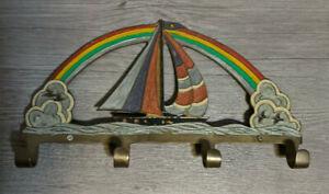 "Vintage Penco 12""x7"" Wall Hook Key Holder Brass & Enamel Sailboat Ship Rainbow"