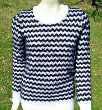 Pullover Sweater Black White Chevron Scoop Neck Women's S Small 4-6 Faded Glory