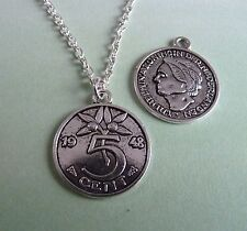 Sided Necklace Brand New in Gift Bag Silver Plated 1948 5 Cent Coin Double