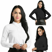 Elegant Women OL Solid Ruffle Career Frill Collar Long Sleeve Shirt Tops Blouse
