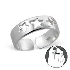 Tjs 925 Sterling Silver Toe Ring Hollow Star Band Adjustable Jewellery Stars
