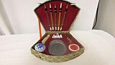 Older Asian Oriental Calligraphy Writing Ink Pen Set -Fan box