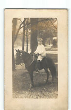 Portrait Young Man w Nice Looking Pony Horse RPPC Photo Postcard -P4