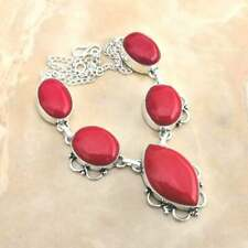 "Handmade Red Coral Jasper Gemstone 925 Sterling Silver Necklace 15"" #N01707"