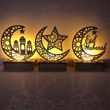 Wooden EID Mubarak Ramadan Ornament Muslim Islamic Light Gifts Home Craft Decor