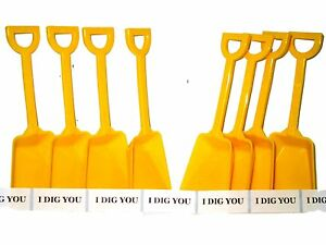 """72  Yellow Toy Plastic Shovels & 72 """" I Dig You"""" Stickers Mfg USA Lead Free*"""