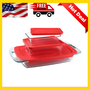 6 Piece Glass Kitchen Casserole Set Rectangle Clear Pyrex Baking Dish with Lid