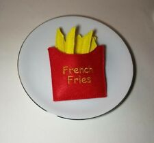 Felt pretend play food french fry with pouch SET - embroidery - handmade