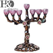 Pink Flower Candlestick For Hanukkah Hand Painted Enamel Candelabra 7 Branch