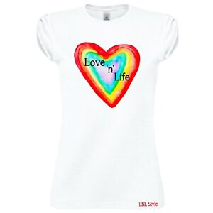 Love'n'Life T-shirt - gift, present, trend, personalised, rainbow, heart