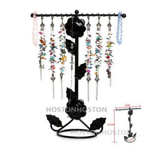 Metal Rose Floral Jewellery Necklace Display Stand Rack Holder 32 Hooks Hanger