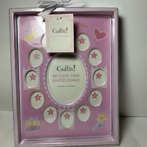 """New Cudlie """"My First Year"""" Baby Monthly Picture Frame Pink """"Play Zone"""" 9.6"""" x 7"""""""