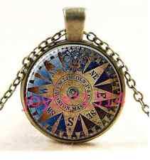 Vintage compass Cabochon bronze Glass Chain Pendant Necklace #745