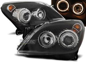 Coppia di Fari Anteriori per Opel ASTRA H 2004-2009 Angel Eyes Neri IT LPOP72-ED