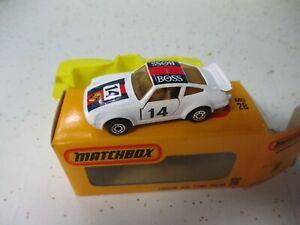 "Matchbox Superfast SF28 Porsche 911- white ""Boss', Japanese yellow window box"