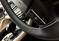 FOR VW EOS 06-2011 BLACK REAL GENUINE LEATHER STEERING WHEEL COVER GREY STITCH