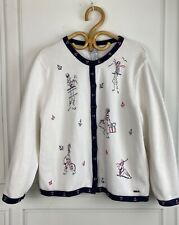 Vtg NORTHERN REFLECTIONS-  Sz L Navy White Nautical Embroidered Cardigan Sweater