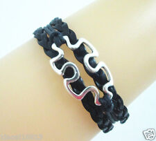 Fashion Antique Silver Tone Autism Charms Leather Braided Bracelet - Black