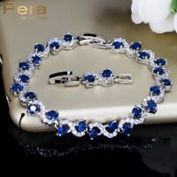 Silver Cubic Zirconia Royal Blue Stone Bracelets Xmas Gifts For Her Mother Women