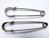Large Kilt, Safety Pins, No Loops, brooch making - Silver & Antigue bronze (3B)
