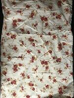 Pottery Barn 100% Cotton Standard Pillowcase Cream Color Maroon Cabbage Roses