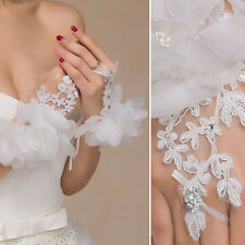 White Crystal Sheer Lace Gloves Wrists Bridal Prom Opera Wedding Formal Party US