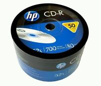 50 HP Blank 52X CD-R CDR Logo Branded 700MB 80MIN Media Disc