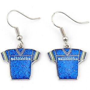 Aminco NFL Seattle Seahawks Team Jersey Dangle Glitter Earring