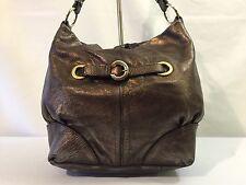 Francesco Biasia Rugged Metallic Bronze Leather Shoulder Purse Handbag Purse