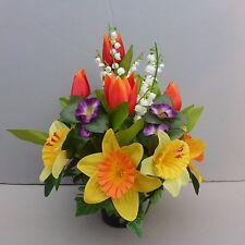 Artificial Spring Flower Arrangement In Pot For Grave/Memorial Vase 01