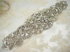 Gorgeous Beaded Motif Diamante Bridal Applique Rhinestone Pearl Wedding Applique