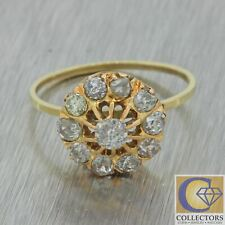 1880s Antique Victorian 14k Solid Gold 1.15ctw Diamond Cluster Engagement Ring
