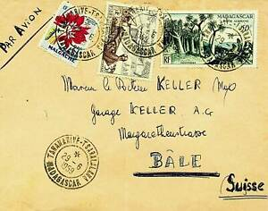MADAGASCAR 1958 FLOWER TREE 3v ON A/M COVER TO BALE SWITZERLAND