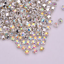 288pcs Sew On Crystal Glass Diamante Rhinestones Alloy Setting 3 4 5 6 8MM